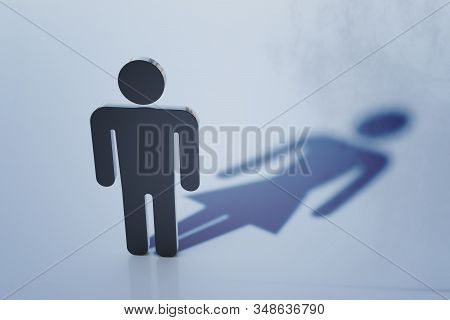Symbol of homosexual man with female shadow. Homosexuality and transgender concept. 3D rendered illustration. stock photo
