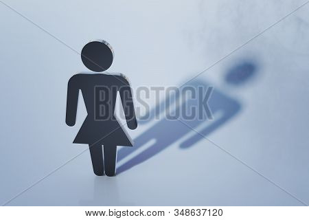 Symbol of homosexual woman with male shadow. Homosexuality and transgender concept. 3D rendered illustration. stock photo