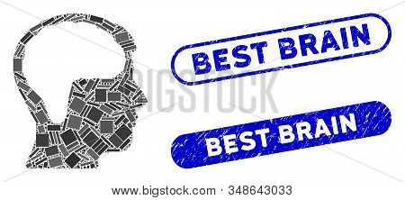 Collage brain and corroded stamp seals with Best Brain text. Mosaic vector brain is composed with randomized rectangle items. Best Brain stamp seals use blue color, and have round rectangle shape. stock photo