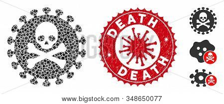Mosaic death virus icon and red round distressed stamp seal with Death caption and coronavirus symbol. Mosaic vector is formed with death virus icon and with scattereduneven parts. stock photo