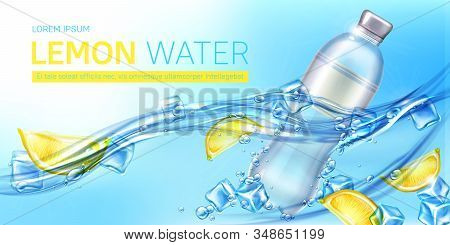 Lemon water ad banner, blank bottle with drink and yellow citrus slices floating in aqua with ice cubes and splashes, advertisement campaign, beverage promo background Realistic 3d vector illustration stock photo