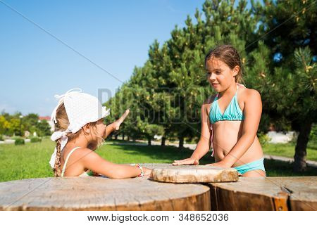 Two little beautiful girls play together on the background of a spruce alley near the sea on a sunny warm summer day during the holidays. The concept of healthy and active children stock photo