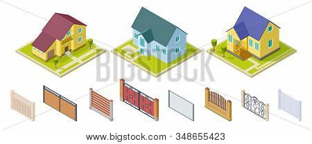 Rural houses and fences. Isolated outdoor design elements. Isometric buildings and gates vector set. Rural building and architecture construction 3d house illustration stock photo
