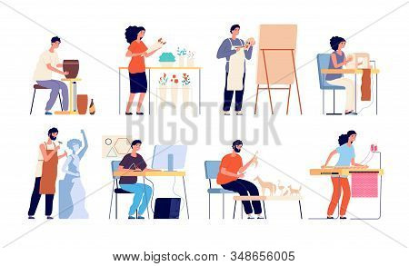 Handicraft hobby. Creative artists, isolated people and craft process. Flat adults, floristry and sewing, drawing and design vector set. Artist handicraft, woman and man handmade illustration stock photo