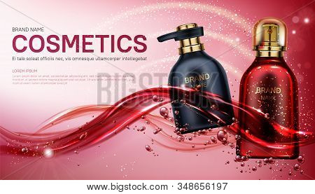 Cosmetics bottles mock up banner. Beauty product package design, red and black pump and spray tubes floating on water splash background. Body care cosmetic ad mockup Realistic 3d vector illustration stock photo
