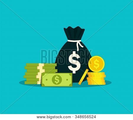 Money bag for salary. Moneybag with million cash in flat style. Sack of euro for investment in business. Debt concept. Bagful, stack dollar, pound for work on isolated background. vector illustration stock photo