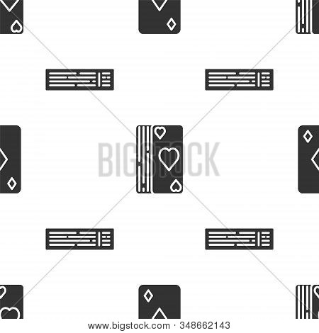 Set Playing card with diamonds symbol, Deck of playing cards and Deck of playing cards on seamless pattern. Vector stock photo