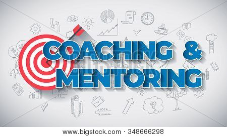 Coaching and Mentoring - Creative Business Concept. Blue Color Creative Text, on Hand Drawn Business Icons Background. Modern Vector Illustration for Web Article, Report or Blog. stock photo