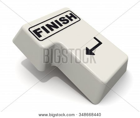 Finish. The enter key. The computer Enter key labeled FINISH on the white background. 3D Illustration stock photo