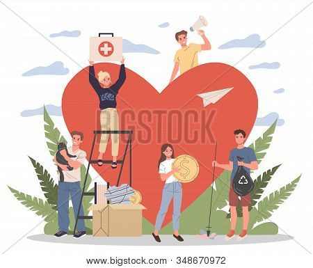 Volunteers vector illustration. Young people packing donation box with money, collecting garbage, taking care about animals near heart. Support community for social aid, charity, help concept stock photo