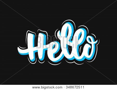 Hello white and blue outlined lettering text on black background. Handwritten calligraphy illustration. Hello sign. Isolated on dark background. stock photo
