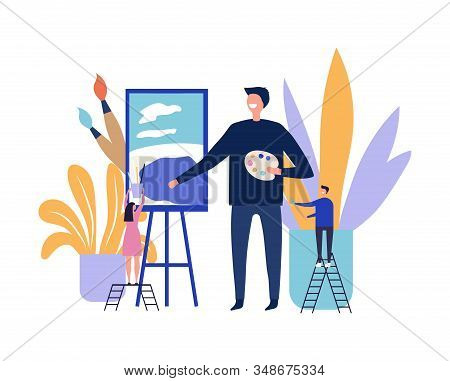 Art therapy concept. Artist paints picture. Flat vector male artist character and tiny people with art equipment illustration. Art therapy, paint drawing, artistic hobby stock photo