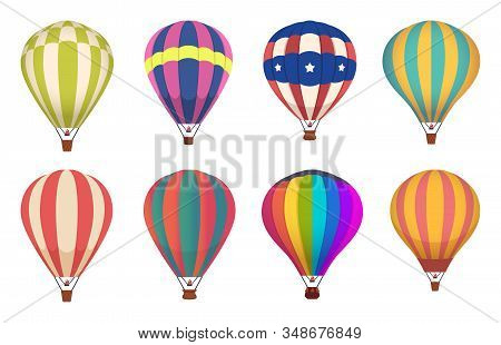 Hot air balloon. Colored aircraft transport with basket sky airing flight vector collection. Sky basket air, hot balloon, aircraft flight transport illustration stock photo