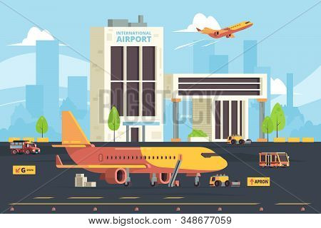 Cargo plane on runway. Warehouse aircraft preparation hangar airport freight aircraft vector flat background. Illustration cargo aircraft, runway airplane stock photo