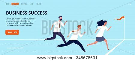 Business success landing page. Office workers run to finish line. Group of top managers, leadership vector web banner. Business crossing finish line, people leader illustration stock photo