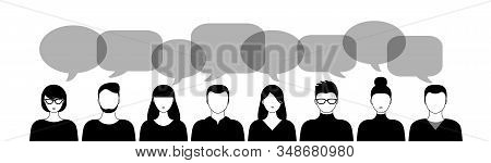different black and white people and speech bubbles isoated on white background horizontal vector illustration stock photo