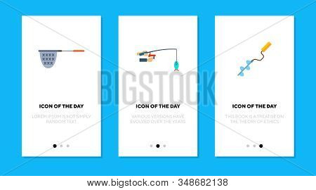 Fishing tools flat icon set. Tackle, net, trap, drill isolated sign pack. Equipment, hobby, outdoor activity concept. Vector illustration symbol elements for web design stock photo