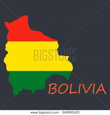 Bolivia flag map country, geography, icon country, geography, icon stock photo