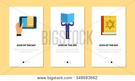Book reading flat icon set. Mobile phone app, reader, torah book isolated sign pack. Hobby, knowledge, religion concept. Vector illustration symbol elements for web design stock photo
