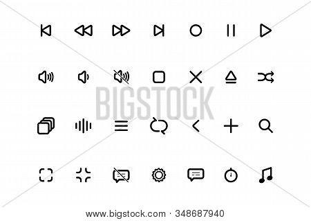 Set Media Player icons. Multimedia. Symbol set, media player icon, player icon. Player buttons stock photo