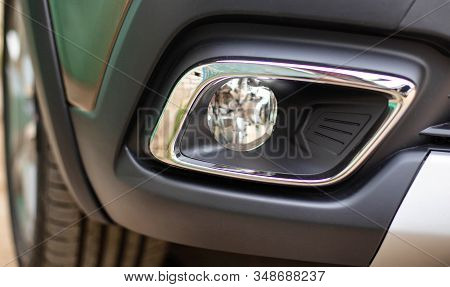 new fog light in a passenger car, background. The concept of good road lighting during fog and poor visibility, headlight stock photo
