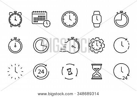 Time and Clock set of linear icons. Time management. Timer, Speed, Alarm, Restore, Time Management, Calendar and more. Collection of time, clock, watch, timer vector simple outline icons for web stock photo