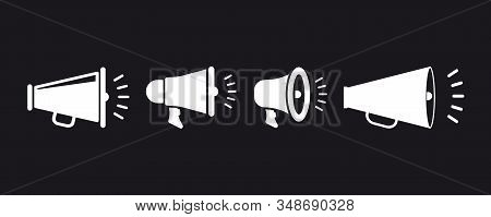 Simple set of Megaphone icons. Social media marketing concept. Megaphone on dark background. Banner for business, marketing and advertising. Advertising banner for social network or website poster stock photo