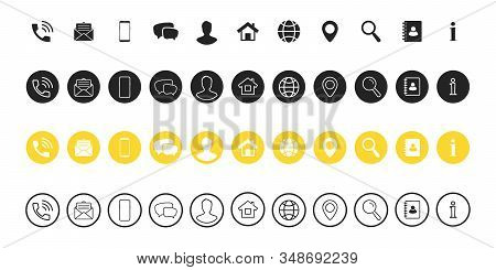 Popular Contact information icons set - Contact us. Web icon. Business card contact information icons. Vector symbols set for web and mobile app. Contact us icons set of differents styles stock photo