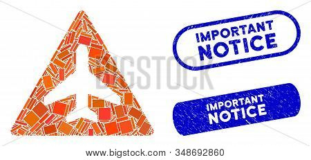 Mosaic aircraft danger and corroded stamp seals with Important Notice caption. Mosaic vector aircraft danger is designed with random rectangle items. Important Notice seals use blue color, stock photo