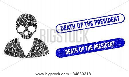 Mosaic death man and distressed stamp seals with Death of the President text. Mosaic vector death man is designed with randomized rectangle items. Death of the President seals use blue color, stock photo