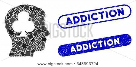 Mosaic gambling addiction patient and rubber stamp seals with Addiction text. Mosaic vector gambling addiction patient is designed with random rectangle items. Addiction stamp seals use blue color, stock photo