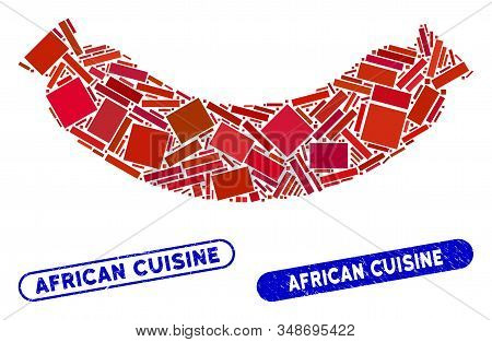 Mosaic sausage and corroded stamp watermarks with African Cuisine caption. Mosaic vector sausage is formed with random rectangle items. African Cuisine stamp seals use blue color, stock photo