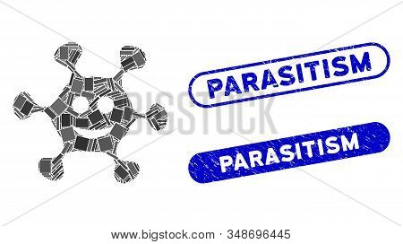 Mosaic happy microbe and distressed stamp seals with Parasitism text. Mosaic vector happy microbe is created with randomized rectangles. Parasitism stamp seals use blue color, stock photo
