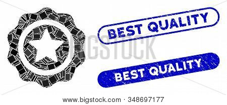 Mosaic best quality and rubber stamp seals with Best Quality caption. Mosaic vector best quality is formed with scattered rectangle items. Best Quality stamp seals use blue color, stock photo