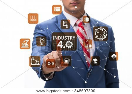 Modern industry 4.0 technical automation concept stock photo