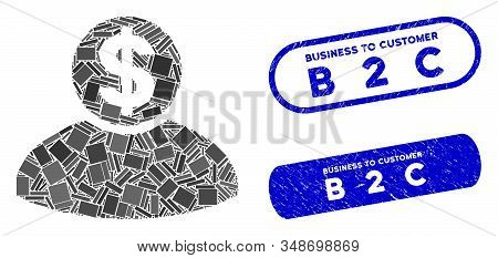 Mosaic banker and corroded stamp seals with Business to Customer B 2 C text. Mosaic vector banker is formed with scattered rectangle items. Business to Customer B 2 C stamp seals use blue color, stock photo