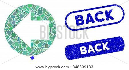 Mosaic back direction and grunge stamp watermarks with Back phrase. Mosaic vector back direction is formed with random rectangle items. Back stamp seals use blue color, and have round rectangle shape. stock photo