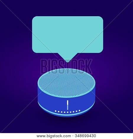 Smart Speaker Assistant device with bubble for your text or picture. Isometric AI speaker illustration, trendy neon colors, isolated on dark background stock photo