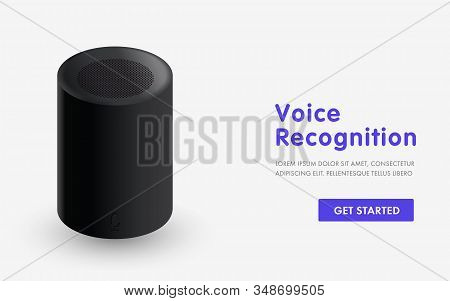 Voice recognition, home advisor and online assistant. Design for landing page, website template, slider and banners. AI device for smart home, internet of things concept stock photo