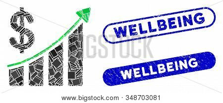Collage sales trend and grunge stamp seals with Wellbeing phrase. Mosaic vector sales trend is formed with randomized rectangle items. Wellbeing stamp seals use blue color, stock photo