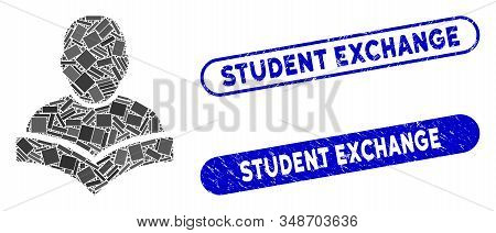 Mosaic student and corroded stamp watermarks with Student Exchange text. Mosaic vector student is created with random rectangle items. Student Exchange stamp seals use blue color, stock photo