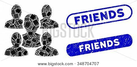 Mosaic friends and grunge stamp seals with Friends text. Mosaic vector friends is composed with random rectangles. Friends stamp seals use blue color, and have round rectangle shape. stock photo