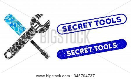 Mosaic tools and distressed stamp watermarks with Secret Tools caption. Mosaic vector tools is composed with randomized rectangle items. Secret Tools stamp seals use blue color, stock photo