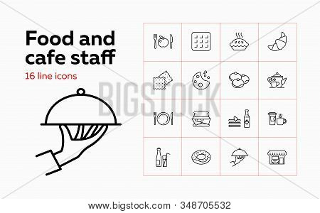 Food and cafe staff icons. Set of line icons on white background. Food and catering concept. Biscuits, cheese, cafe, pie. Vector illustration can be used for topics like catering, food, restaurant stock photo