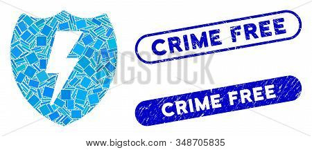 Mosaic electric shield and distressed stamp seals with Crime Free phrase. Mosaic vector electric shield is designed with randomized rectangle items. Crime Free seals use blue color, stock photo