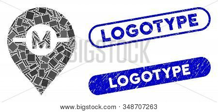 Collage motor marker and grunge stamp seals with Logotype phrase. Mosaic vector motor marker is composed with scattered rectangle items. Logotype stamp seals use blue color, stock photo
