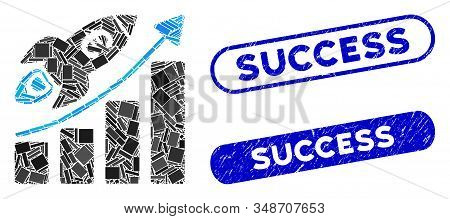 Mosaic Euro success business start and grunge stamp seals with Success text. Mosaic vector Euro success business start is formed with scattered rectangles. Success stamp seals use blue color, stock photo