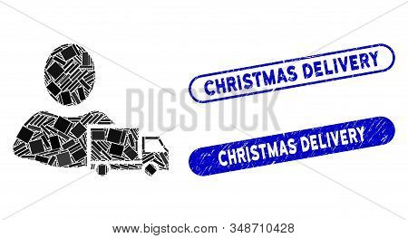Collage delivery and grunge stamp seals with Christmas Delivery phrase. Mosaic vector delivery is designed with scattered rectangle items. Christmas Delivery stamp seals use blue color, stock photo