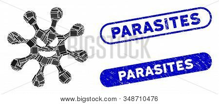 Mosaic evil bacteria and corroded stamp seals with Parasites text. Mosaic vector evil bacteria is composed with random rectangle items. Parasites seals use blue color, and have round rectangle shape. stock photo