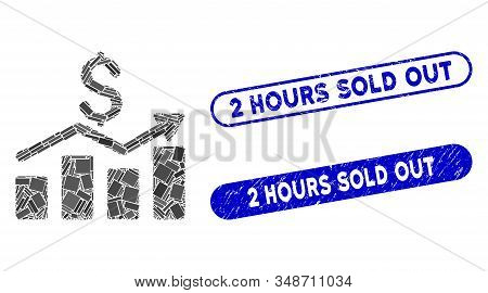 Mosaic sales chart and distressed stamp seals with 2 Hours Sold Out text. Mosaic vector sales chart is composed with randomized rectangle items. 2 Hours Sold Out seals use blue color, stock photo